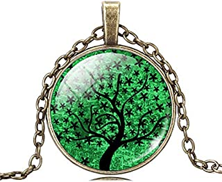 TL51 Bronze Tree of Life Glass Cabochon Pendant Necklace Sacred Tree