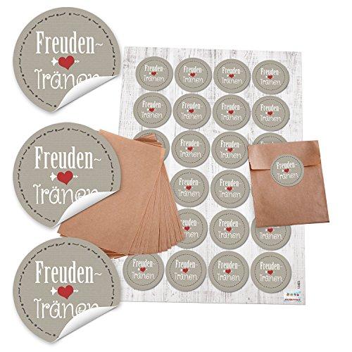 24 bruine papieren zakjes 8,5 x 13 cm + 24 ronde stickers Vrienden in grijs wit rood hart 4 cm, voor papieren zakdoeken Tempo verpakking voor bruiloft