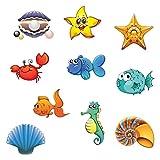 HPiano Adesivi Vasca Antiscivolo, Confezione di 10 Grandi Sea Creature Adesivi Antiscivolo per Vasca da Bagno per Il Bagno Antiscivolo per Bambini Adesivi per Vasca Adesivo Forte