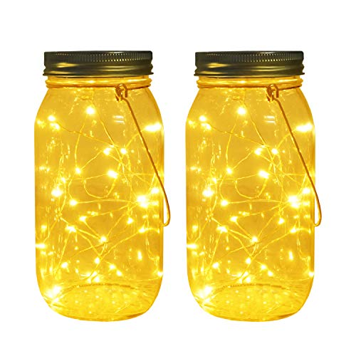 Solar Mason Jar Lights, Large Size Bigger Glass Mason Jar with 30 LEDs Fairy Firefly String Lights, Best Patio Yard Desktop Party Decor Outdoor Solar Hanging Lanterns (2-Pack)