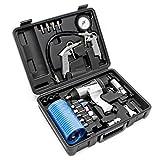 Set herramientas aire comprimido 27 piezas Pistola impacto Medidor inflado neumáticos Llave impacto