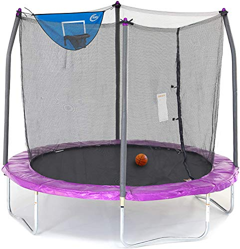Skywalker Trampolines 8-Foot Jump N' Dunk Trampoline with Safety Enclosure and Basketball Hoop,...