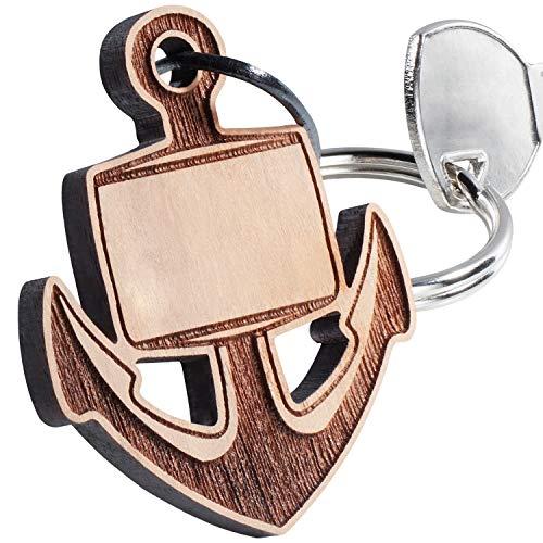 Schlüsselanhänger aus Holz mit Gravur (Wunschgravur) – Anker: Holzanhänger graviert mit Wunschtext – maritimer Glücksbringer für den Lieblingsmenschen – persönliches Geburtstagsgeschenk