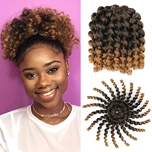 3 Packs Ombre Jumby Wand Curls Twist Crochet Hair Extensions 8inch Synthetic Crochet Braids for Black Women 20strands/pack Xtrend Hair (1B/27#, 3packs/Lot)