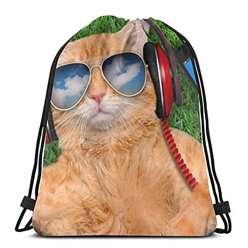 Katze Smartphone Gras Brille Unisex Kordelzug Rucksack Tasche Polyester Cinch Sack Wasserdicht Sport Gym Bag Casual Daypack für Frauen