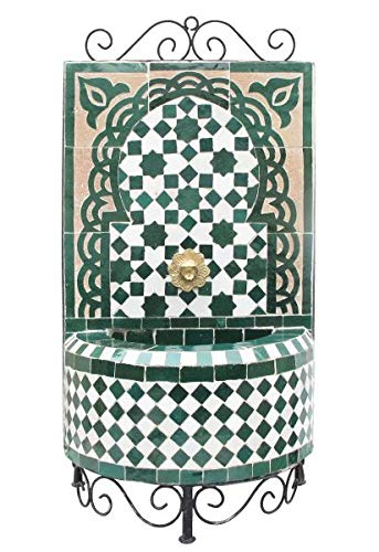 Saharashop Marokkanischer Mosaikbrunnen Mini Grün, orientalischer Gartenbrunnen, Mosaik Brunnen für Garten Balkon Terrasse Zimmer