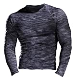 Hombres Fitness y Ejercicio Compresión Capa Base Manga Corta Camiseta Culturismo Tops de Manga Larga 9309 Negro Gris S