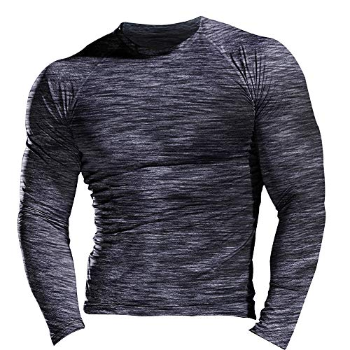 51E3YGfQljL. SS500  - Muscle Alive Men Skinny Tight Compression Base Layer Short Sleeve T Shirt Bodybuilding Tops Polyester and Spandex