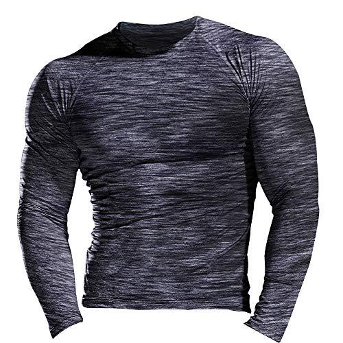 Hombres Fitness y Ejercicio Compresión Capa Base Manga Corta Camiseta Culturismo Tops de Manga Larga 9309 Negro Gris M