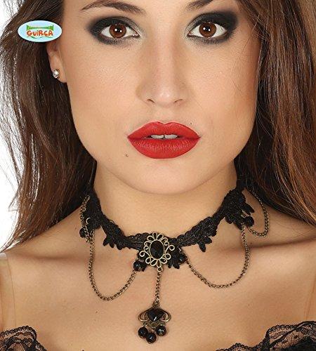 Schwarze Häkelspitzenkette mit schwarzen Steinen Collier Halloween Karneval Fasching Kirche Gothic Tod