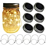 Mason Jar Solar Lids Lights,6-Pack 30 LEDs Fairy Fireflies String Lights Lids Insert(6 Hangers Included, Jars Not Included), Fits Regular Mouth Mason Jars,Patio Garden Decor Solar outdoor Laterns