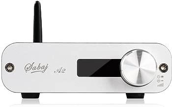 Sabaj Small Desktop Stereo Audio Digital Amplifier AMP with Bluetooth USB Optical Input Black Silver