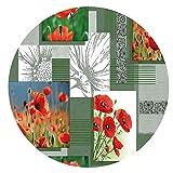 DecoHomeTextil Wachstuchtischdecke Wachstuch Tischdecke Gartentischdecke Rund Oval Klatschmohn Grün Rund ca. 140 cm abwaschbare Wachstischdecke