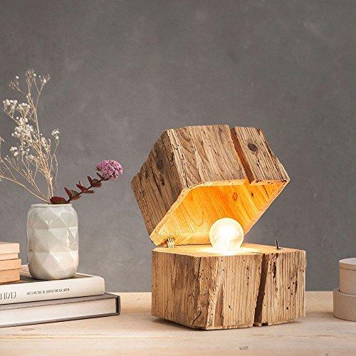 Almleuchten B1 massive Blockleuchte aus Altholz/Braun/Tischlampe aus Holz