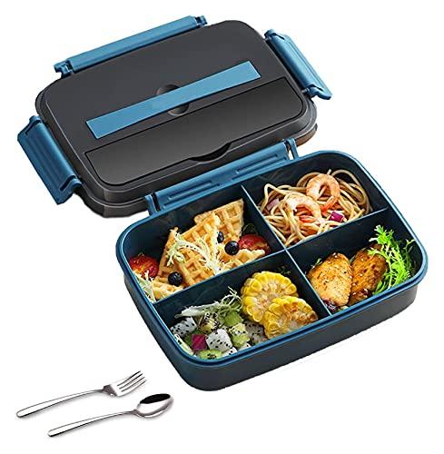 sacfun Caja de almuerzo, 1600 ml Caja de bento a prueba de fugas con mango - contenedor de alimentos con 3 compartimentos y conjunto de cubiertos, BPA gratis, microondas y lavavajillas Comidas seguras