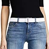 No Show Women Stretch Belt Invisible Elastic Web Strap Belt with Flat Buckle for Jeans Pants Dresses. (Suit for US Size 0-16, White Silver Color Buckle)