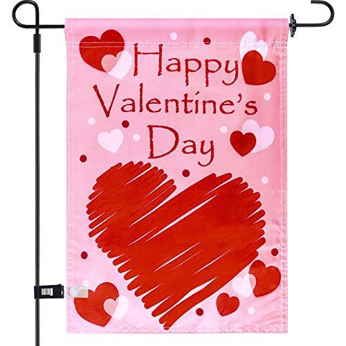 Uddiee Valentine's Day Garden Flag Decorative Valentine Day Heart Garden Flag for Valentine's Day...