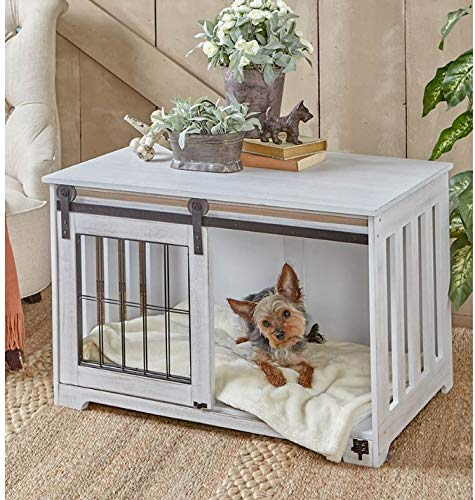Furniture Style PET Dog Crate Sliding BARN Door Accent END Table Categories