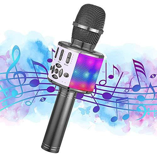 Ankuka Karaoke Mikrofon, Bluetooth Mikrofon Kinder, Tanzen LED Lichter Drahtlose Tragbares Microphon mit Lautsprecher Aufnahme für Erwachsene und Kinder, Kompatibel mit Android IOS PC, Grau