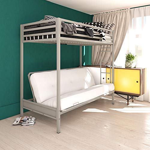 DHP Miles Twin over Futon Metal Ladder for Kids, Silver Bunk Bed