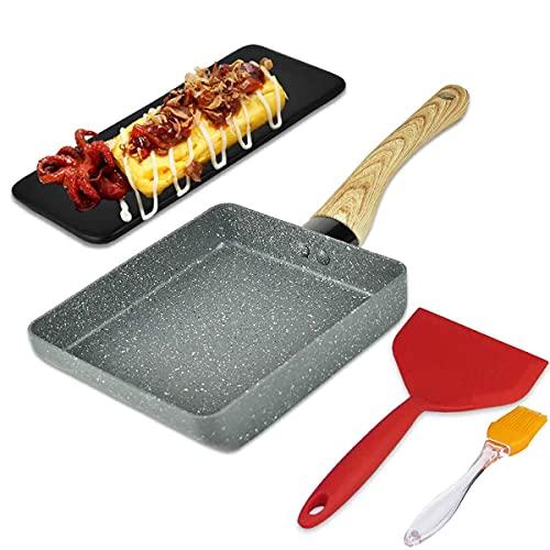 Artcome Japanische Omelette-Pfanne, Antihaftbeschichtung, Tamagoyaki-Eierpfanne, rechteckig, Mini-Bratpfanne, mit Silikon-Spatel und Pinsel, schwarzer Platte und magischem Schwamm-Radierer (grau)