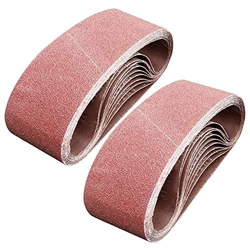 Ctzrzyt 20 Bandas de Lijado de 3 X 21 Pulgadas, Banda de Lijado de óxido de Aluminio de Grano 80, Papel de Lija de Primera Calidad para Lijadora de Banda Portátil