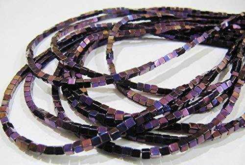 Shree_Narayani AAA calidad púrpura color rosa hematita cubo granos arco iris místico caja forma hematita perlas 2mm tamaño hebra 15-16 pulgadas largo al por mayor piedra natal granos 1 hebra