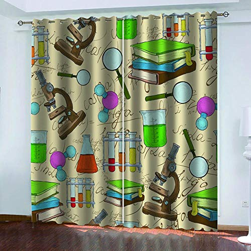 Ageeseso® Vorhang mit ösen Blickdicht 3D Cartoon Briefpapier Lupe Lichtundurchlässige Vorhang mit Ösen für Schlafzimmer Geräuschreduzierung 220(W) x215(H) cm Halloween vorhänge