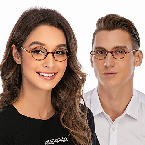 DOOViC Rund Lesebrille für Damen/Herren Schildkröte Rahmen Anti Rutsch Leicht Flexible Brille mit Stärke 1,25