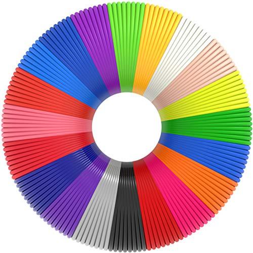 3D Pen Filament 400 Feet 20 Colors, Glow in The Dark Refills PLA Bonus 250 Stencil eBook, 3D Pen/Printer Filament 1.75mm Smooth Printing