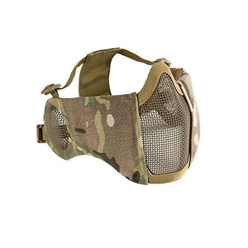 OneTigris 6' Foldable Half Face Airsoft Mesh Mask with Ear Protection, Military Tactical Lower Face Protective Mask (Multicam)