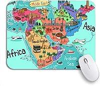 ROSECNY 可愛いマウスパッド ノートブックコンピューターマウスマット用漫画赤ノンスリップゴムバッキングマウスパッドで中東の国のカラフルな地図