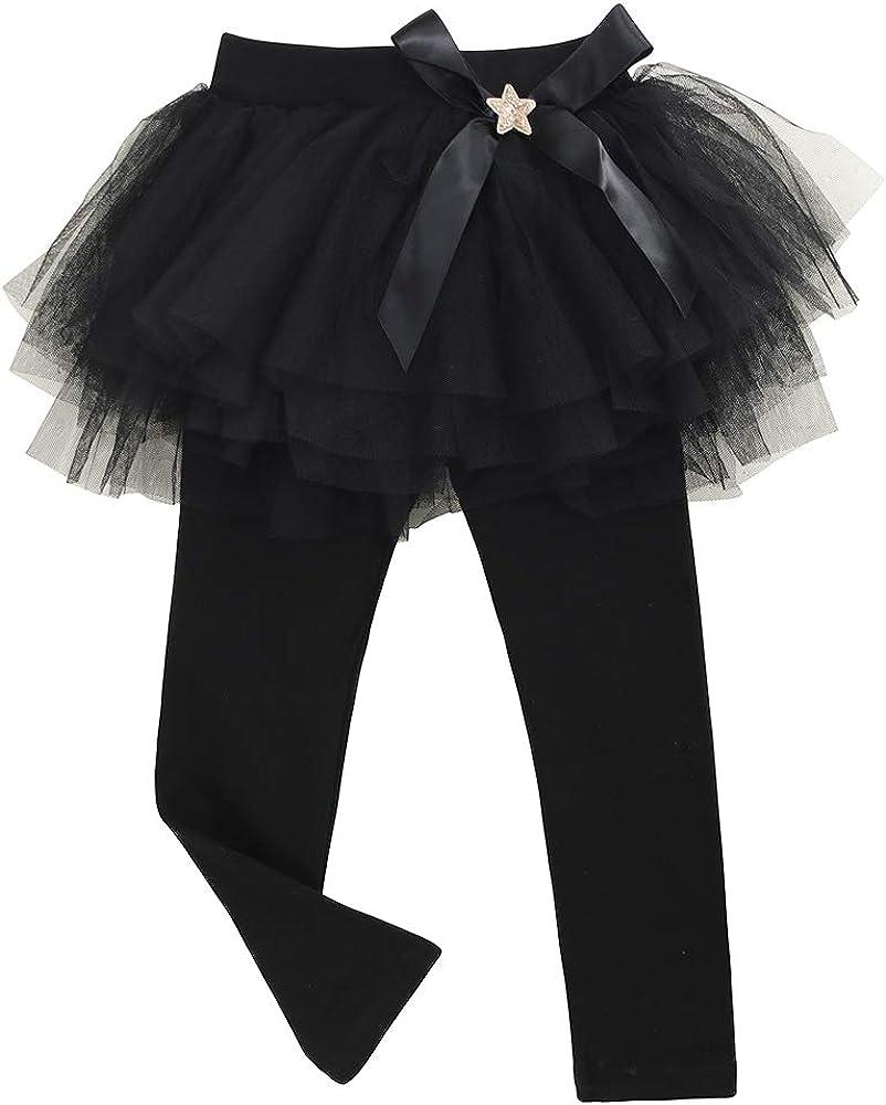 KISBINI Girls Footless Leggings with Ruffle Tutu Skirt Bowknot Cotton Pantskirt