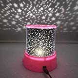 Luz nocturna LED, proyector de luz nocturna de cielo estrellado, luna, máster de niño, bebé, lámpara de proyección USB, color rosa (color: rosa) kshu (color: rosa)