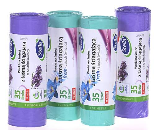60 Duft-Müllbeutel Lavendel + Frisch mit Zugband, 35 Liter, 4 Rollen mit 15 Beuteln/Müllsäcke/Super starker duft/Stella Premium Bags Line