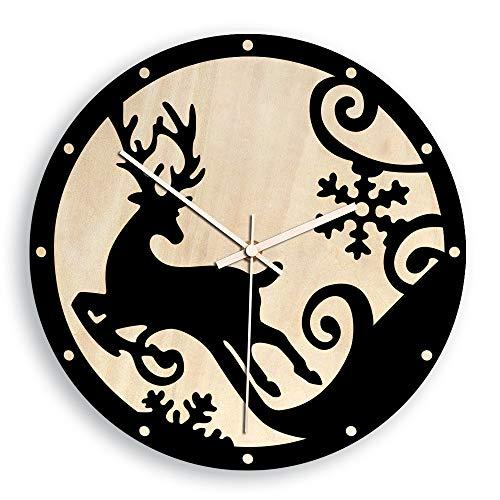 Reloj Salón, Reloj Vintage Silencioso Reloj de Decoración Reloj de Pared para Comedor Cocina,Reloj de Pared Creativo Europeo Negro 12 Pulgadas