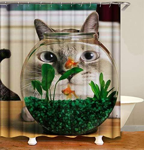 ZZZdz goudvis en kat in het aquarium. Douchegordijn. 180 x 180 cm. 12 vrije haken. Huisdecoratie. 3D Hd-druk. Eenvoudig te reinigen. Badkameraccessoires.