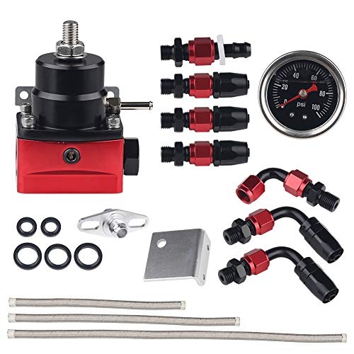 WATERWICH Universal Adjustable Fuel Pressure Regulator Kit Aluminum with 100 Psi Pressure Gauge AN6-6AN Fuel Line Hose Fitting Connectors Kit
