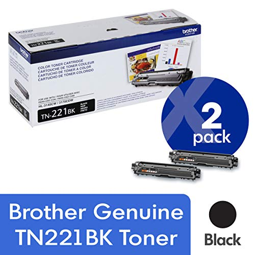 Brother Genuine TN221BK 2-Pack Standard Yield Black Toner Cartridge with Approximately 2,500 Page Yield/Cartridge
