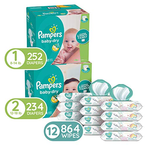 Pampers Baby Diapers and Wipes Starter Kit (2 Month Supply) - Baby Dry Disposable Baby Diapers Sizes 1 (252 Count) & 2, (234 Count) with Sensitive Water Based Baby Wipes, 12X Pop-Top Packs, 864 Count