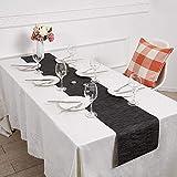 SHACOS Tischläufer Schwarz PVC Tischläufer Abwaschbar Hitzebeständig rutschfest Bambus Tischläufer Perfekt für Esstisch Restaurant Holztisch 30 X 180cm - 7