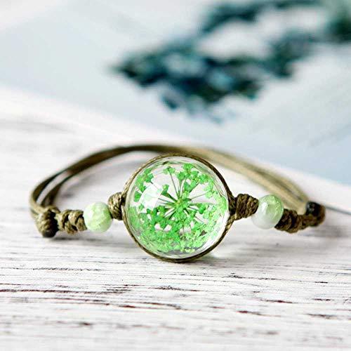 NoBrand Small Fresh Literature and Art Fan Dry Flower Plant Specimen Bracelet Full of Star Glass Player Chain Ceramic Gift