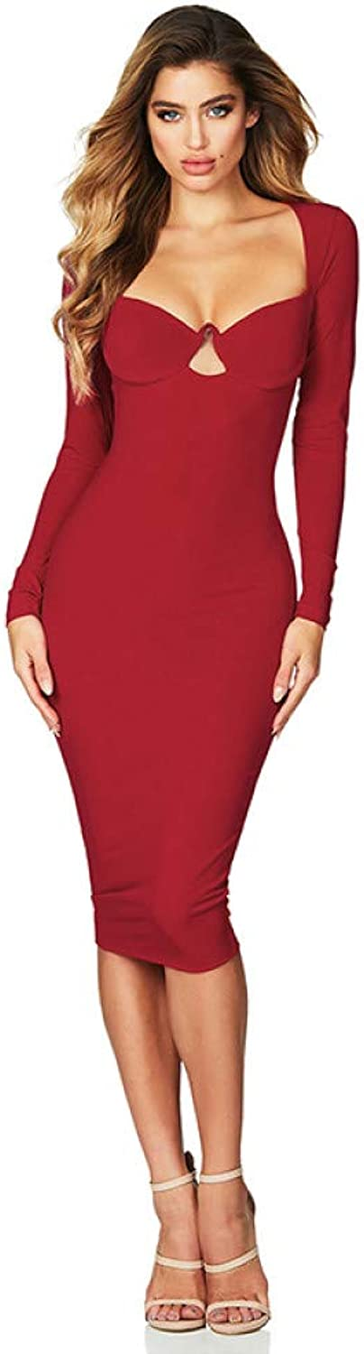 Dress for Women,Women Sexy Red Bodycon Party Midi Dress for Elegant Autumn Long Sleeve Flirt Black Night Club Dresses