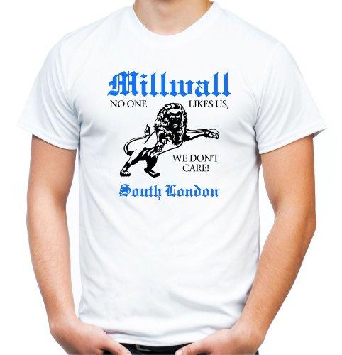 Millwall South London T-Shirt | Fussball | | Sport | Männer | Herren | Trikot | England | Ultras | Weiß (XL)