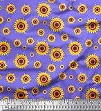 Soimoi Lila Baumwoll-Voile Stoff Sonnenblume Blumen- Stoff