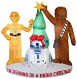 Yal Boutique 6 Ft Stars Wars Airblown Droids and Chewbacca w/Tree Christmas Inflatable