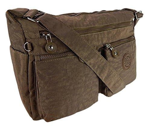 Bag Street - präsentiert von ekavale borsa di alta qualità in nylon Crinkle per donna marrone