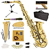 Mendini by Cecilio Gold Lacquer E Flat Alto Saxophone with Hard Case, Pocketbook, Mouthpiece, 10 Reeds, Stand, Cleaning Cloths, Mouthpiece Brush, Mouthpiece Cushion, and 1-Year Warranty