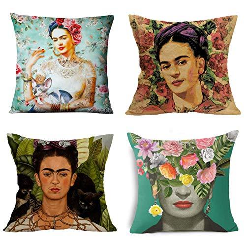 Adecuado para Frida Kahlo, pintora mexicana autorretrato, funda de almohada cuadrada de lino 4 piezas, almohada para el automóvil, cojín decorativo para el sofá del hogar, 18 x 18 pulgadas