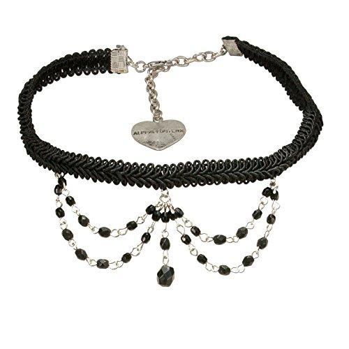 Alpenflüstern Trachten Borten-Kropfband Ida mit Perlen-Ketten - nostalgische Trachtenkette enganliegend, Elegante Kropfkette, Damen-Trachtenschmuck schwarz DHK188
